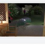 Nocą  z altany świetnie prezentuje się dyskretnie oświetlony ogród.