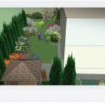 Niewielki ogród w osiedlu domów jednorodzinnych.