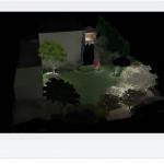 Niewielki ogród -widok nocny.