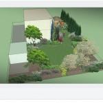 Widok z góry na zaprojektowany ogród.