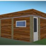 widok na saune ogrodową