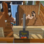 sauna wolnostojąca z węzłem sanitarnym