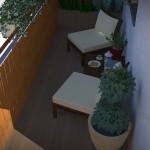 Wizualizacja balkonu. Aranżacja z lustrem.